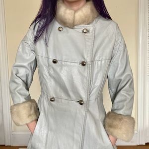60's Pale Blue Leather Coat with Mink Fur Collar
